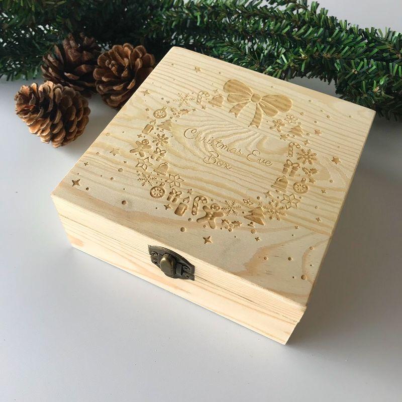 Bois Gravé Noel Veille Boite Cadeau Enfants Apple Box Rangement Stockage Décor