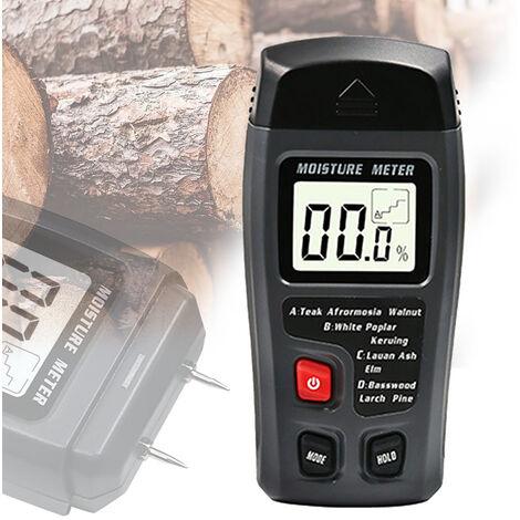 Bois Testeur d'humidite Humidimetre de plancher de bois Carton Humidimetre Humidimetre Humidimetre Noir Humidimetre-Sans batterie, Noir
