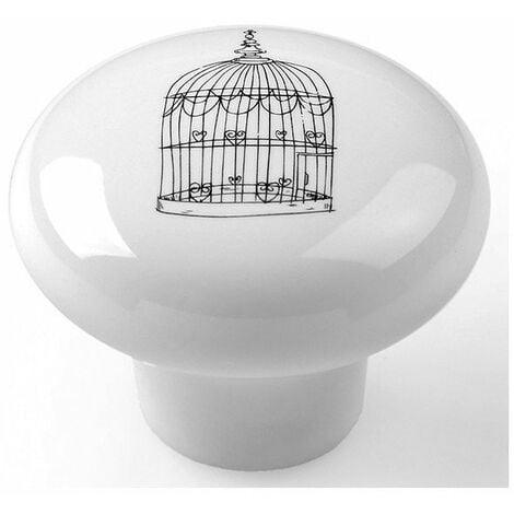 """main image of """"Boite 10 boutons porcel d 40mm blc-cage-aux-oiseaux ref 7-e815"""""""