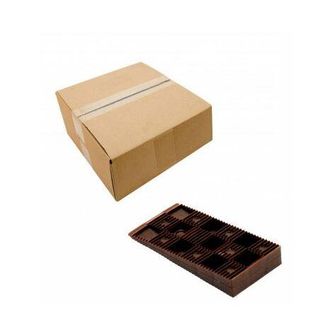 Boîte 100 cales crantées marrons 90 x 45 x 15 mm ( 12 à 30 mm ) EDMA