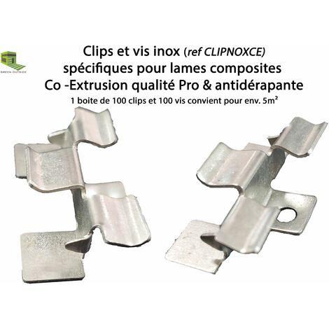Boite 100 clips & vis inox pour lames terrasse coextrusion et coextrusion anti-dérapante