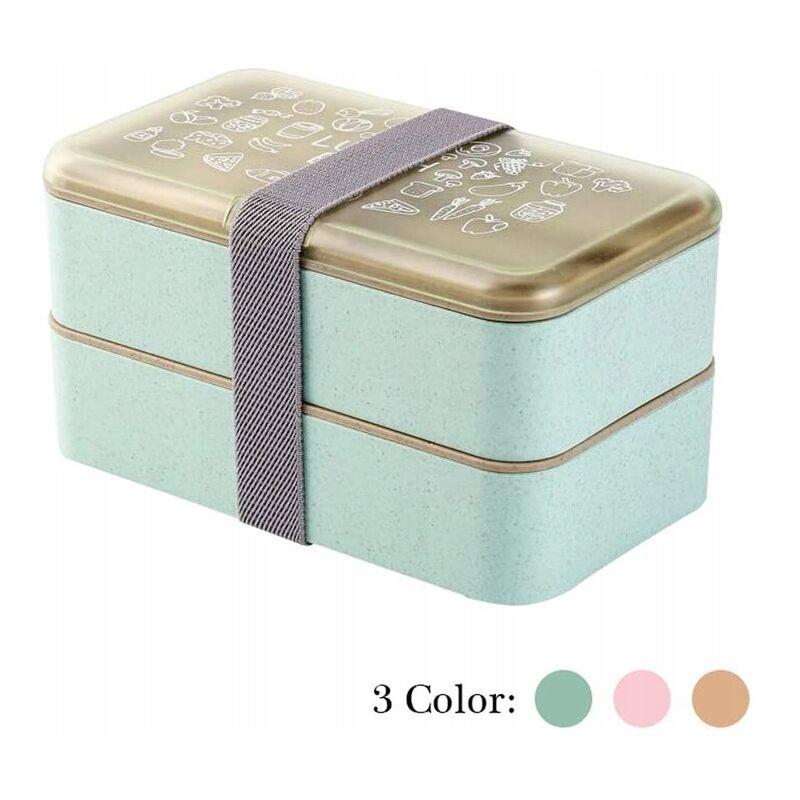 Ilovemono - Boîte à bento Boîte de rangement pour aliments Accessoires de cuisine Boîte à lunch rectangulaire à double couche (18 * 11 * 10 cm) vert