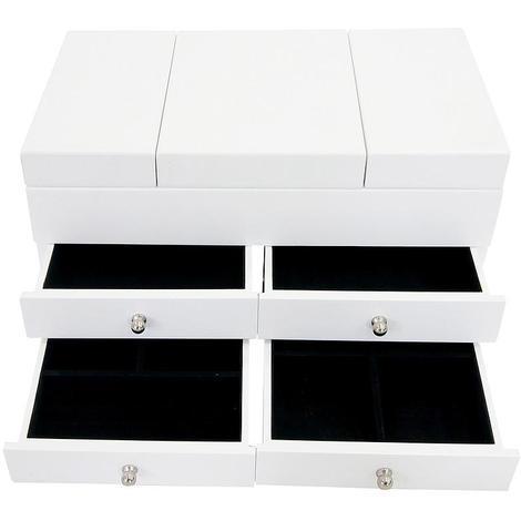 Boîte à Bijoux avec Compartiments, Meuble à Bijoux avec Tiroirs, 35 x 20 x 18 cm, Blanc, Matériau: MDF, Verre