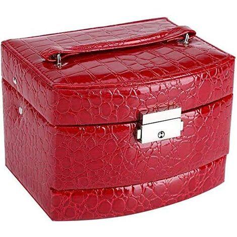 Boîte à Bijoux Coffret Pésentoirs en Cuir 3 Plateaux Tiroirs Intérieur Velouté 5 Couleurs Verrouillable à Clé Miroir Accessoires(Red)