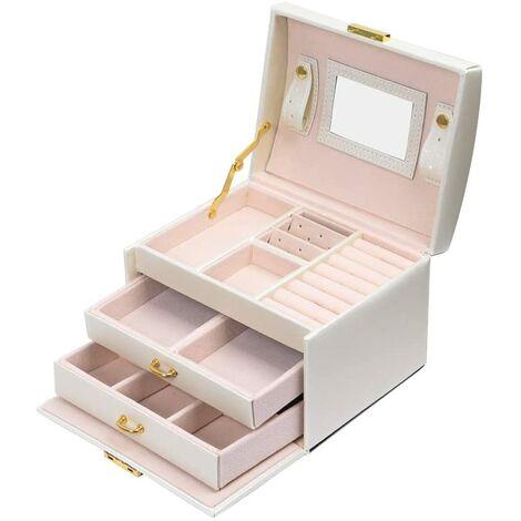 Boîte à bijoux - Coffret pour bijoux - beauty Case à 3 Couches - Simili Cuir avec 2 Tiroirs -Miroir et Serrure - Blanc - Meerveil
