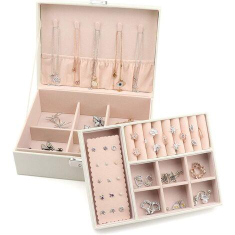 Boîte à Bijoux de 2 Niveaux, Coffret à Bijoux Verrouillable en Cuir PU pour Filles Femmes, Doublure en Velours, Blanc
