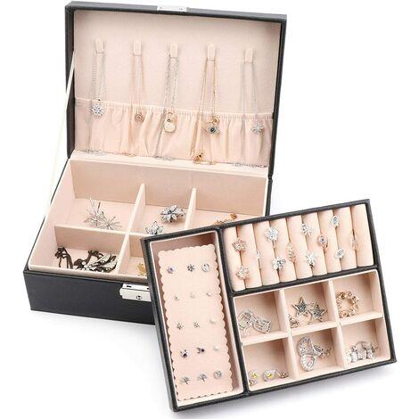 Boîte à Bijoux de 2 Niveaux, Coffret à Bijoux Verrouillable en Cuir PU pour Filles Femmes, Doublure en Velours, Noir