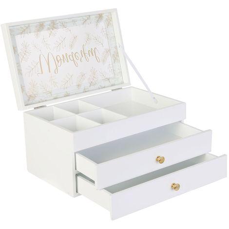 Boîte à bijoux en bois scandinave Cocooning - Blanc - Blanc
