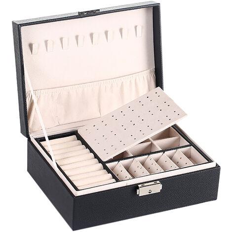 Boite a bijoux en cuir double couche, boucles d'oreilles et boite de rangement pour bijoux, grande boite a bijoux multifonction, noir