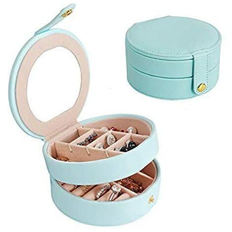 Boîte à bijoux en cuir multicouche avec boîte à bijoux Bleu foncé