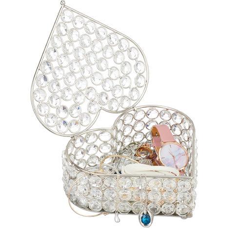 Boîte à bijoux en forme de cœur, Rangement bijou, verre, Colliers, Bracelets, Bagues, HLP 7x17x16 cm, argenté