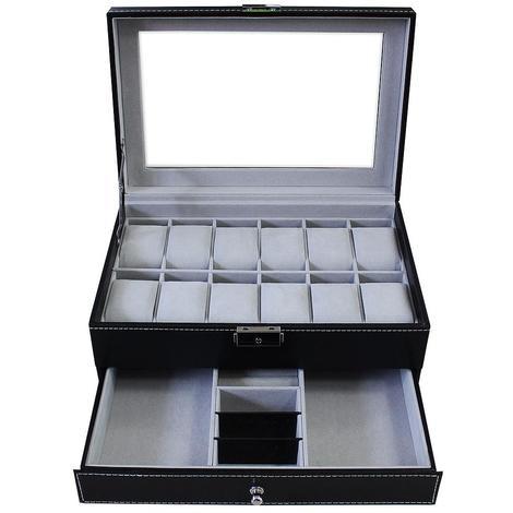 Boîte à Bijoux et Montres, Présentoir à Montres et Bijoux, 12 montres, tiroir à bijoux et vitre d'exposition, Gris, Dimensions: 30 x 20 x 14 cm