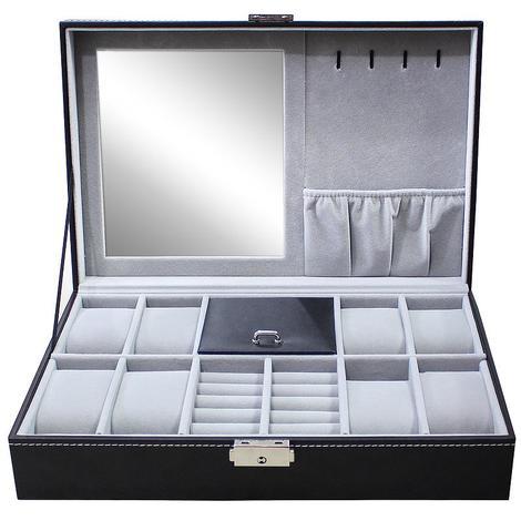Boîte à Bijoux et Montres, Présentoir à Montres et Bijoux, 8 montres, bijoux et miroir, Gris, Dimensions: 30 x 20 x 8 cm