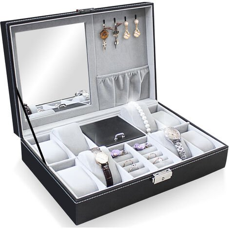 Boîte à Bijoux et Montres, Présentoir à Montres et Bijoux, 8 montres, bijoux et miroir, Gris, Dimensions: 30 x 20 x 8 cm - Gris