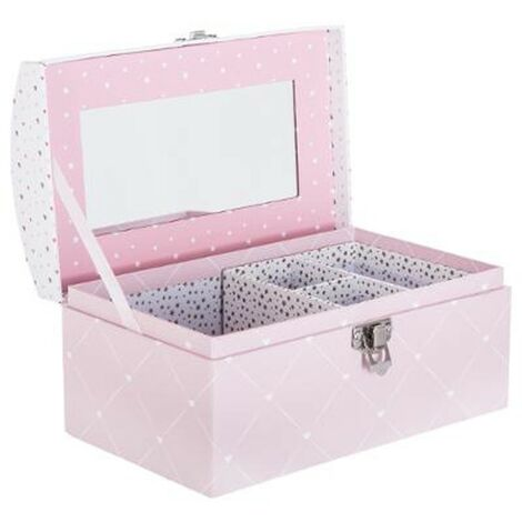 Boîte à Bijoux & Miroir Demoiselle 19cm Rose