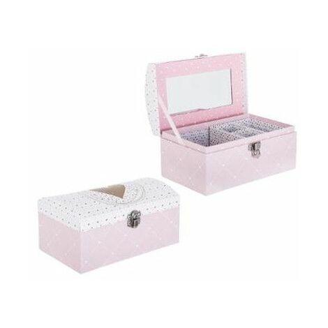 Boite à bijoux - Miroir intégré - Rose - Livraison gratuite
