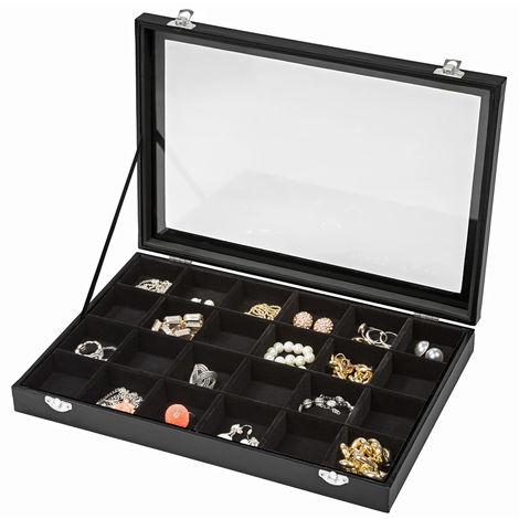 Boîte à Bijoux Montres de Rangement 35,5 cm x 24,5 cm x 4,5 cm Noir