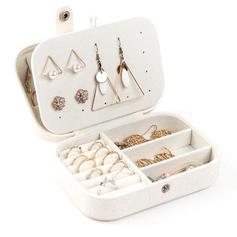 Boite A Bijoux Multifonctionnelle, Etui De Rangement De Bijoux D'Affichage, Blanc