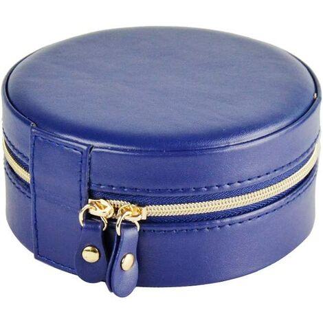 Boîte à bijoux, organisateur de bijoux, étui à bijoux de voyage, boîte à bijoux, avec fermeture à glissière et miroir, rond, petit, pour la maison et les sous-vêtements, idéal pour les filles et les femmes (bleu)