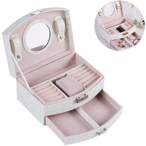 Boîte à bijoux pour femme Boîte à bijoux en cuir PU pour bagues, boucles d'oreilles, colliers, bracelets et voir, épingles à cheveux, montre, blanc