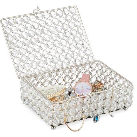 Boîte à bijoux, Rangement bijou, verre, fer, Colliers, Bracelets, Bagues, H x L x P 7 x 19 x 14,5cm, argenté