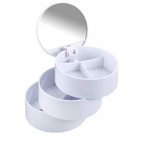 Boite à bijoux ronde, boite de rangement accessoires salle de bain, 3 compartiments avec miroir, blanc WENKO