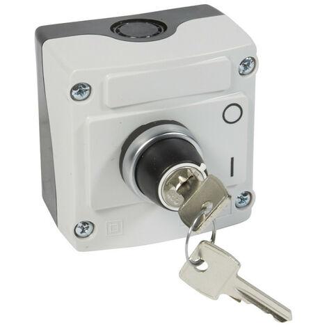 """main image of """"Boîte à bouton équipée Osmoz avec bouton tournant à clé n°455 2 positions avec couvercle gris (024217)"""""""