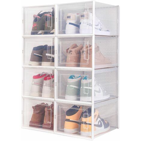 Boîte à chaussures Transparentes en Plastique, Boîte Rangement Chaussures avec Couvercle, Etagère à Chaussures,L, Lot de 8 - Meerveil