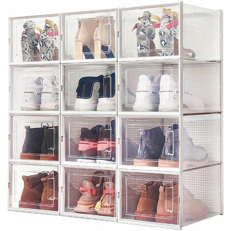 Boîte à chaussures Transparentes en Plastique, Boîte Rangement Chaussures avec Couvercle, Etagère à Chaussures,L,Lot de 12 - Meerveil
