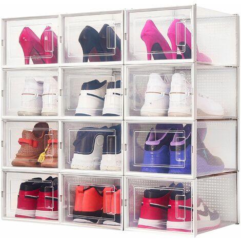 Boîte à chaussures Transparentes en Plastique, Boîte Rangement Chaussures avec Couvercle, Etagère à Chaussures,M, Lot de 12 - Meerveil