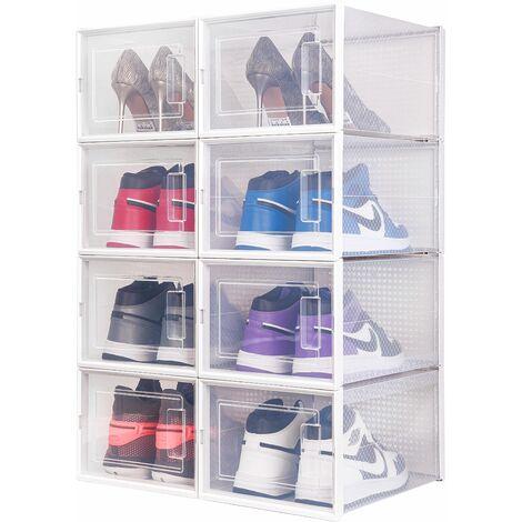 Boîte à chaussures Transparentes en Plastique, Boîte Rangement Chaussures avec Couvercle, Etagère à Chaussures,M,Lot de 8 - Meerveil