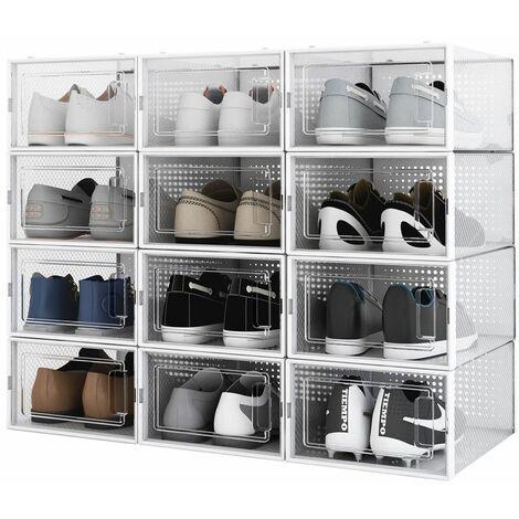 Boîte à chaussures Transparentes en Plastique, Boîte Rangement Chaussures avec Couvercle, Etagère à Chaussures,S, Lot de 12 - Meerveil