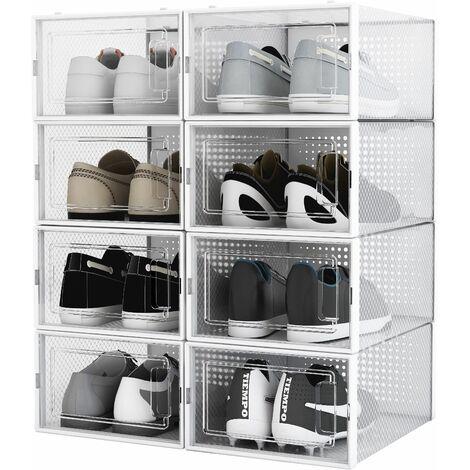 Boîte à chaussures Transparentes en Plastique, Boîte Rangement Chaussures avec Couvercle, Etagère à Chaussures,S, Lot de 8 - Meerveil