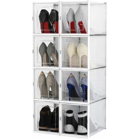 Boîte à chaussures Transparentes en Plastique, Boîte Rangement Chaussures avec Couvercle, Etagère à Chaussures,X,Lot de 8 - Meerveil