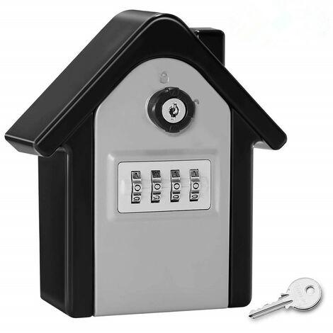 Boite a Cle Securisee Mural Boite a Clé avec Code Numérique & Clés d'urgence, Grand Key Safe Box Format Coffre a Clef Extérieur pour Maison, Bureau, Usine, Garages