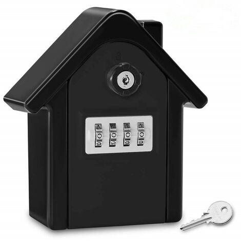 Boite a Cle Securisee Mural Boite a Clé avec Code Numérique & Clés d'urgence, Grand Key Safe Box Format Coffre a Clef Extérieur pour Maison, Bureau, Usine, Garages (Noir Complet)