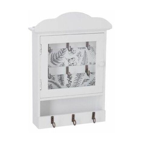 Boite à clefs avec imprimé - L 20 cm x l 7,5 cm x H 28,5 cm - Blanc - Livraison gratuite