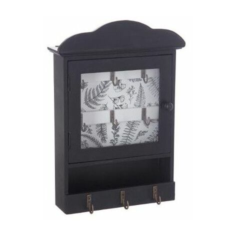 Boite à clefs avec imprimé - L 20 cm x L 7,5 cm x H 28,5 cm - Noir avec fond blanc - Livraison gratuite