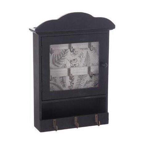 Boite à clefs avec imprimé - L 20 cm x L 7,5 cm x H 28,5 cm - Noir avec fond bois - Livraison gratuite