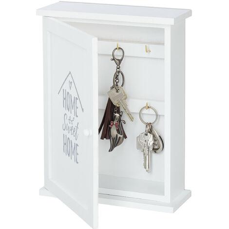 Boîte à clefs en bois, Home Sweet Home, style maison de campagne, à suspendre, HxLxP 29 x 22 x 8 cm, blanc