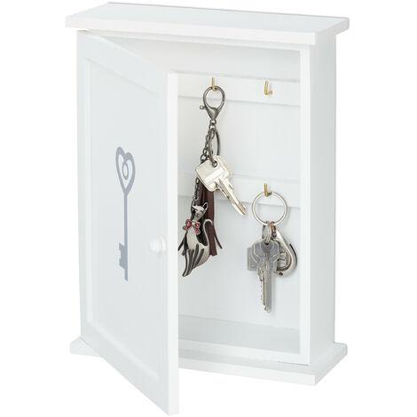 Boîte à clefs en bois, motif clé, style maison de campagne, à suspendre, HxLxP 29 x 22 x 8 cm, blanc