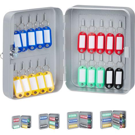 Boîte à clés 20x16x8 cm 20 crochets armoire à clefs rangement fermant à clé garage sécurité, gris