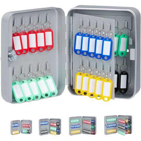 Boîte à clés 40 crochets , 20x16x8 cm armoire à clefs rangement fermant à clé garage sécurité, gris