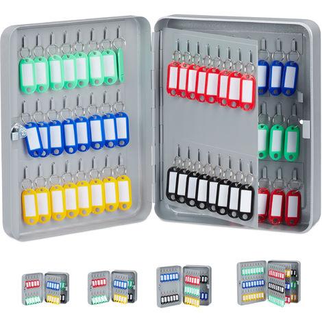 Boîte à clés 80 crochets, 30x24x8 cm armoire à clefs rangement fermant à clé garage sécurité ...