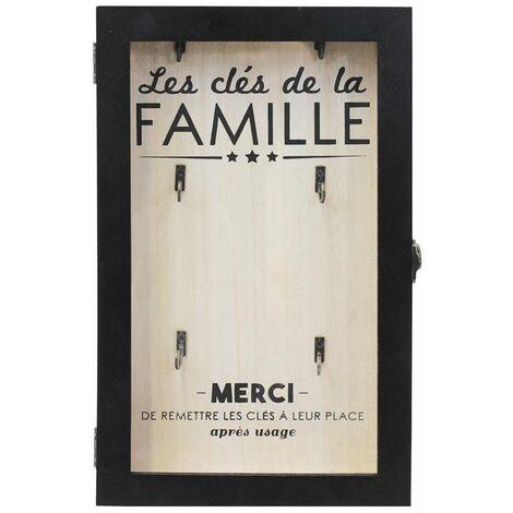 Boîte à clés en bois avec imprimé Famille- 6 supports - Noir et Beige