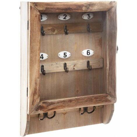 Boite à clés en bois - L 26 cm x l 8,5 cm - Marron