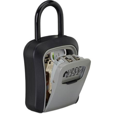 Boîte à clés sécurisée, code à 4 chiffres, crochet anse, rangement à clé, 17,5 x 9,5 x 4 cm, noir/argent