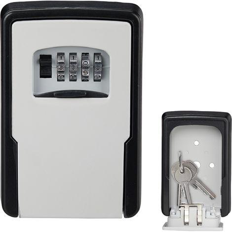 Boîte à clés sécurisée, code à 4 chiffres, montage mural, extérieur, rangement, 13 x 8,5 x 4 cm, noir/argent