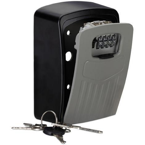"""main image of """"Boite à clés sécurisée, combinaison 4 chiffres, code coffre fort clef garage, 14,5 x 10,5 x 5 cm, noir/gris"""""""