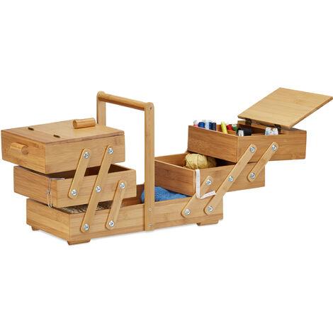 Boîte à couture en bambou bois boîte à bijoux compartiments casiers HxlxP:30 x 44 x 22 cm, nature